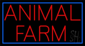 Red Animal Farm Blue Border Neon Sign