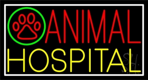 Red Animal Yellow Hospital Logo Neon Sign