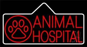 Red Animal Hospital Block Logo Neon Sign