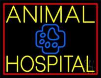 Yellow Animal Hospital with Logo Neon Sign