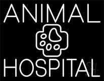 White Animal Hospital with Logo Neon Sign