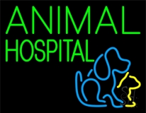 Green Animal Hospital Dog Logo Neon Sign