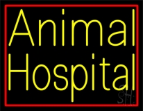 Yellow Animal Hospital Red Border Neon Sign