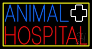 Animal Hospital Logo Yellow Border Neon Sign