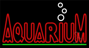 Red Aquarium Green Line Neon Sign