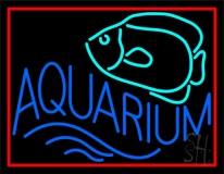 Aquarium Fish Logo with Border Neon Sign