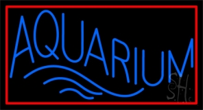 Blue Aquarium Red Rectangle Neon Sign