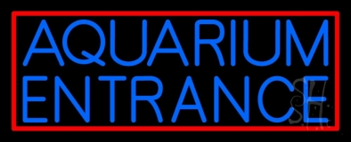 Blue Aquarium Red Border Neon Sign