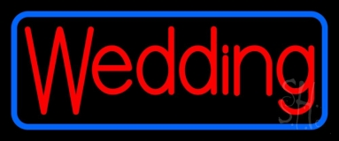 Blue Border Wedding Neon Sign
