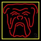 Red Bull Dog Yellow Border Neon Sign