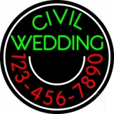 Circle Civil Wedding With Phone Number Neon Sign