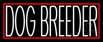 White Dog Breeder Red Rectangle Neon Sign