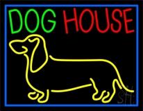 Dog House Blue Border Neon Sign