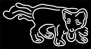 Dog Logo White Neon Sign