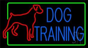 Dog Training Green Border 2 Neon Sign