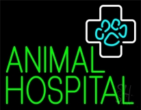 Green Animal Hospital Block Neon Sign