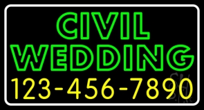 Green Civil Wedding With Phone Number Neon Sign