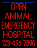 Open Emergency Animal Hospital 2 Neon Sign