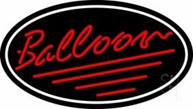Oval Red Balloon Cursive Neon Sign