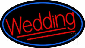 Oval Red Wedding Neon Sign