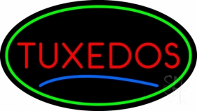 Oval Tuxedos Blue Line Neon Sign