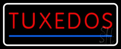 White Border Tuxedos Blue Line LED Neon Sign