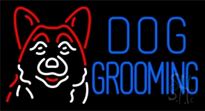 Blue Dog Grooming with Logo Neon Sign