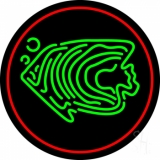 Green Fish Red Circle Neon Sign