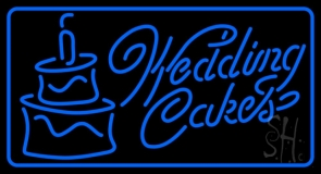 Blue Wedding Cakes 1 Neon Sign