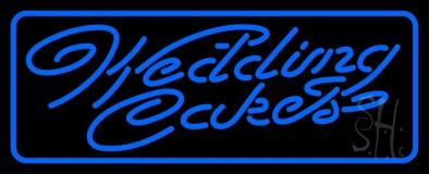 Blue Wedding Cakes Cursive Neon Sign