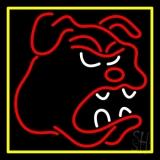 Bull Dog Yellow Border Neon Sign