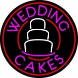 Circle Pink Wedding Cakes Neon Sign