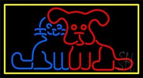 Dog Cat Yellow Border Neon Sign