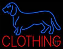 Blue Dog Red Clothing Neon Sign