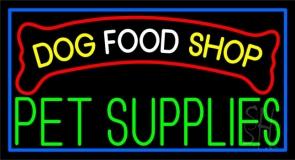 Dog Food Shop Blue Border Neon Sign