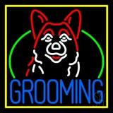 Dog Grooming Yellow Border Neon Sign
