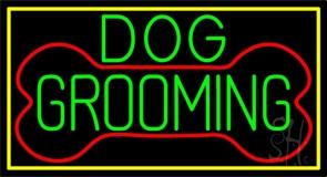 Green Dog Grooming Yellow Border Neon Sign
