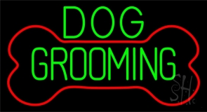 Green Dog Grooming Red Bone LED Neon Sign