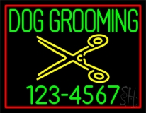 Green Dog Grooming Red Border Neon Sign