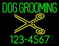 Dog Grooming with Phone Number Neon Sign