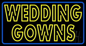 Double Stroke Wedding Gowns Blue Border Neon Sign