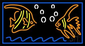 Fish Blue Border 1 Neon Sign