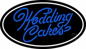 Oval Blue Wedding Cakes Cursive Neon Sign