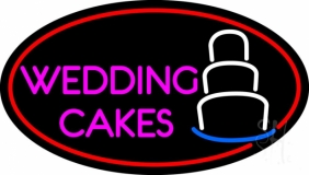Oval Pink Wedding Cakes Neon Sign