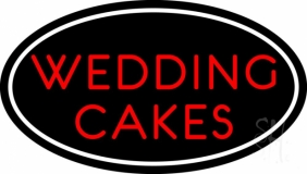 Oval Wedding Cakes Neon Sign