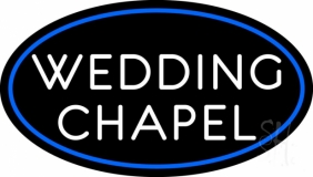 Oval White Wedding Chapel Neon Sign