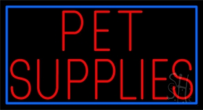 Pet Supplies Blue Border Neon Sign