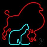 Red Poodle Dog Cat Logo LED Neon Sign