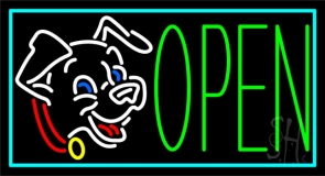 Puppies Open 1 LED Neon Sign