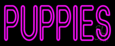 Puppies Purple Neon Sign